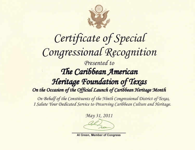 The caribbean american heritage foundation of texas national certificate of special congressional recognition by congressman al green ninth congressional district yelopaper Gallery